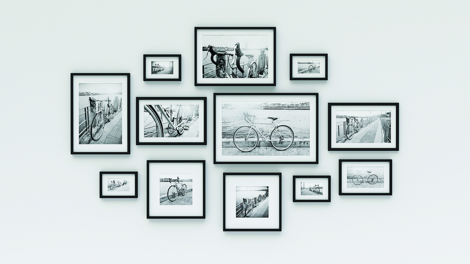 Photo frame on wall - pic bicycle (3d rendering)