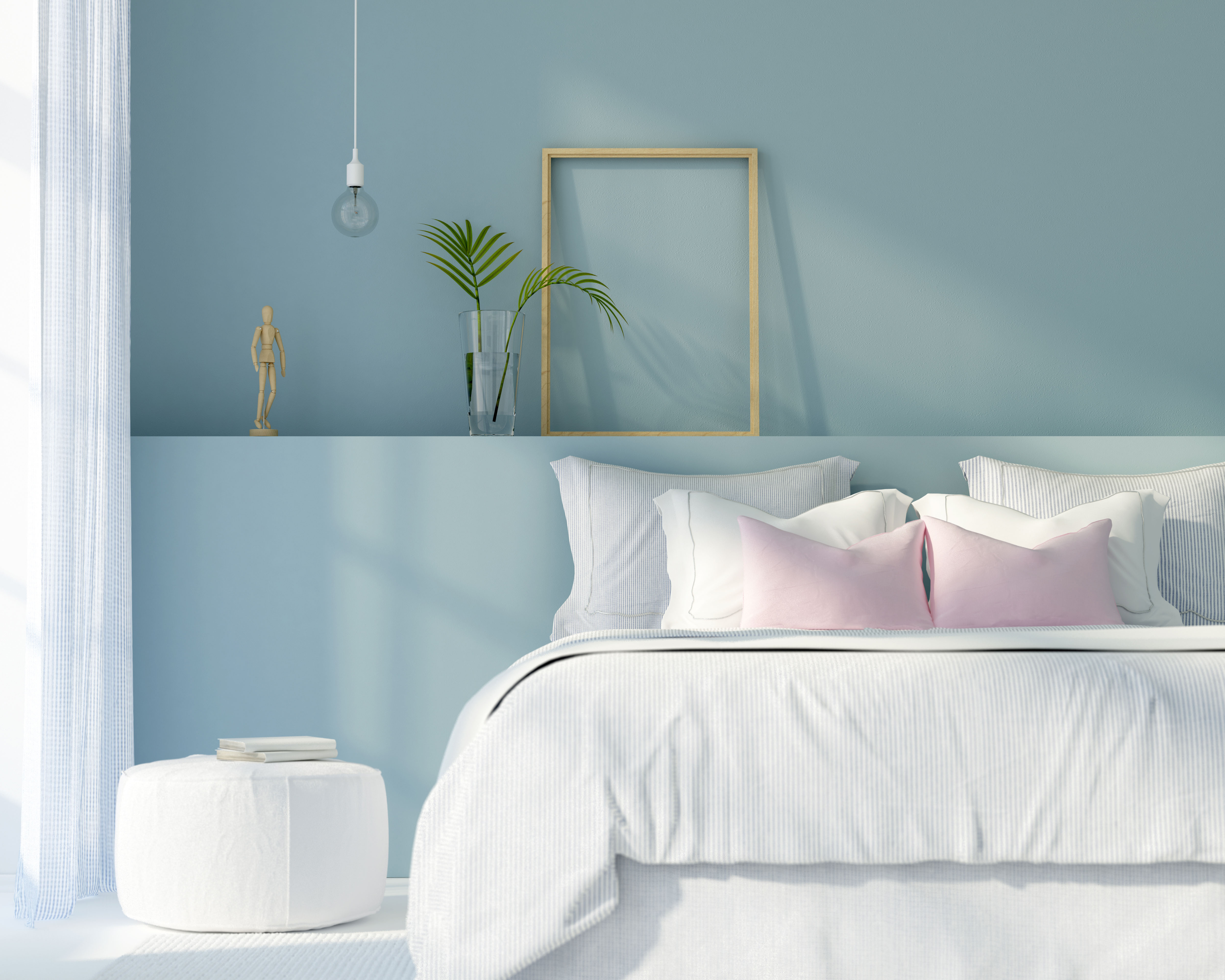 Bedroom in white and blue color