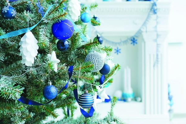 Christmas tree decorated with blue and silver balls